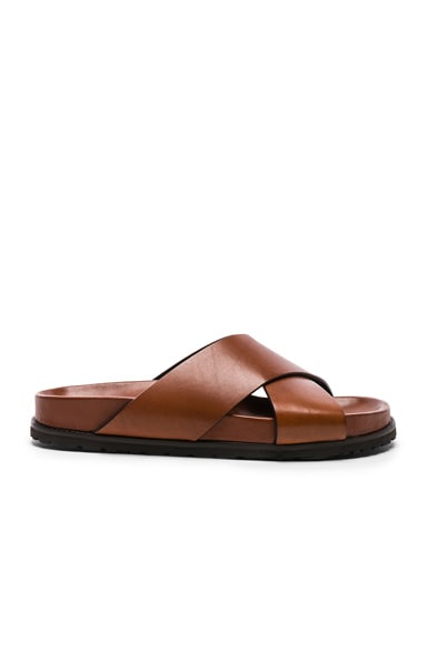 Leather Jimmy Cross Strap Slides
