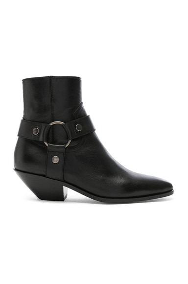 Leather West Strap Ankle Boots