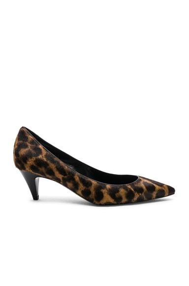 Leopard Print Pony Hair Charlotte Kitten Heels