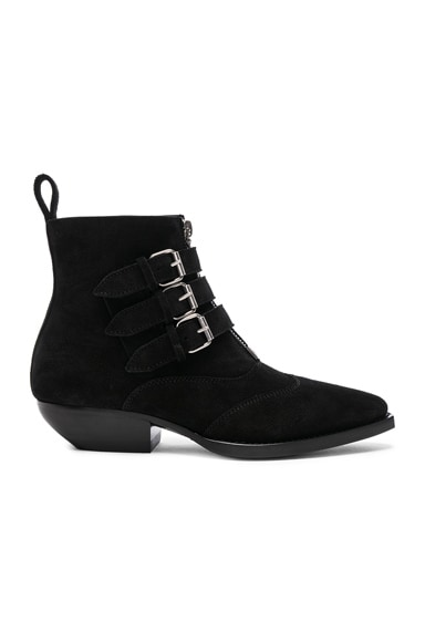 Suede Theo Buckled Ankle Boots