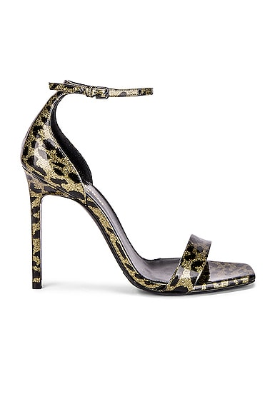 Amber Leopard Glitter Ankle Strap Sandals