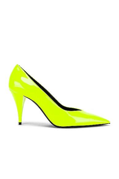 Saint Laurent Kiki Neon Patent-Leather Pumps In Yellow