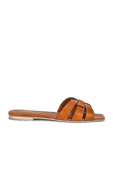 Leather Croc Nu Pieds Slide Sandals