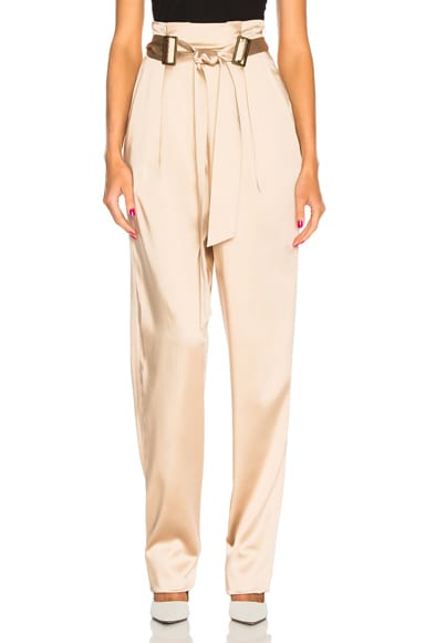 Stretch Satin Belt Tapered Pant