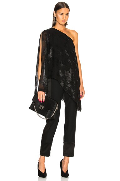 Metallic Silk Asymmetrical Drape Top