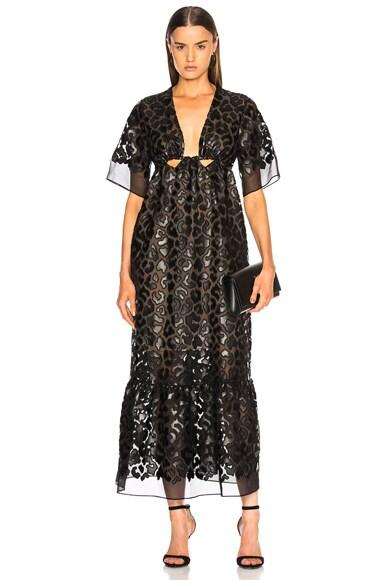 Leopard Print Burnout Plunging Gown