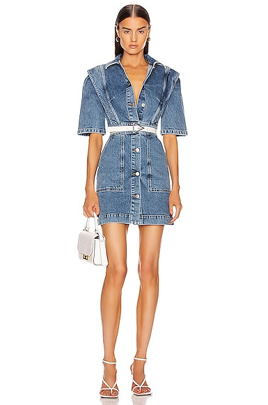 Short Sleeve Denim Mini Dress