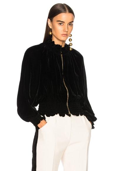 Naomi Fluid Velvet Bomber Jacket