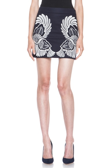 Applique Embroidered Wool-Blend Skirt