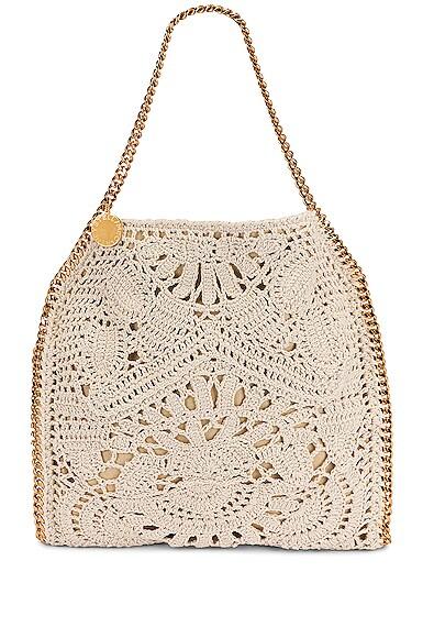 Stella Mccartney Small Crochet Ajouree Bag In Butter