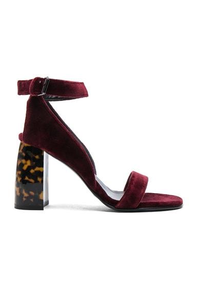 Velvet Ankle Strap Heels
