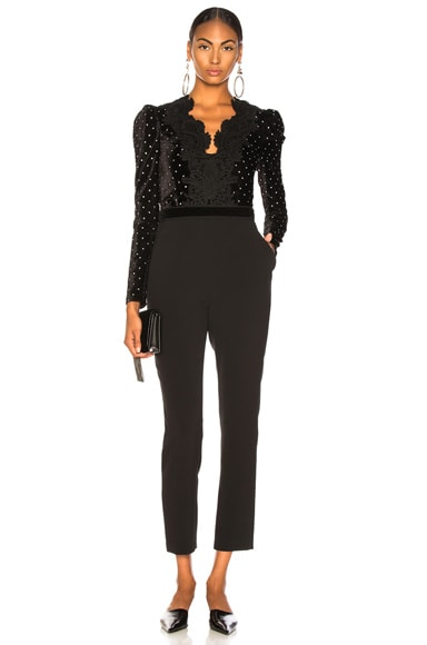 Lace Trimmed Velvet Diamante Jumpsuit