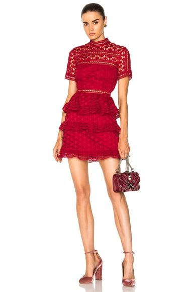High Neck Star Lace Panelled Dress