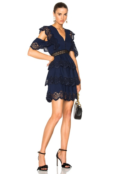 Tiered Embroidered Gazar Mini Dress