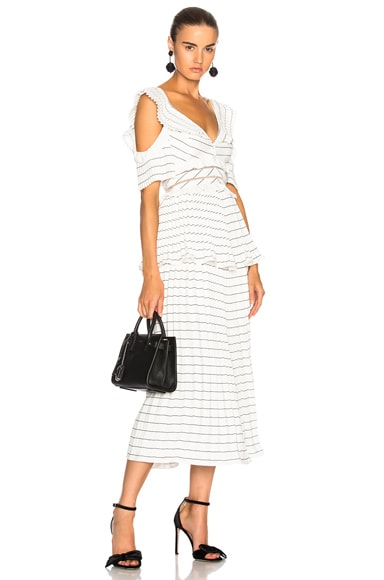 Monochrome Stripe Midi Dress Black & White