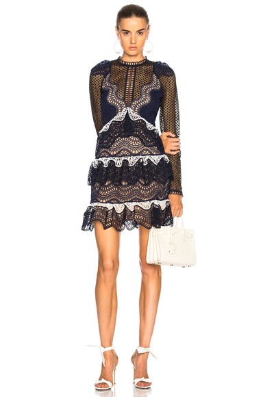Wave Guipure Mini Dress