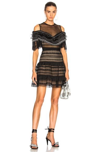 Stripe Paneled Lace Dress