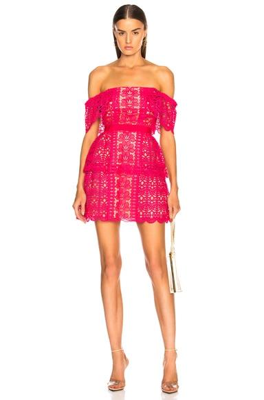 Off Shoulder Floral Guipure Mini Dress