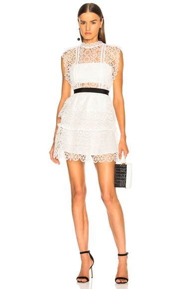 Circle Floral Lace Tiered Mini Dress