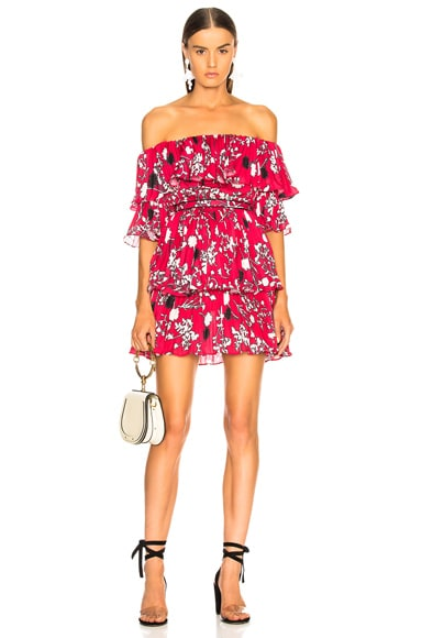 Off Shoulder Pleated Floral Mini Dress