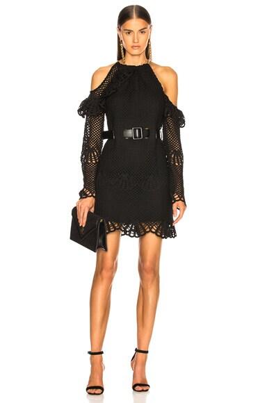 Waist Detail Crochet Mini Dress