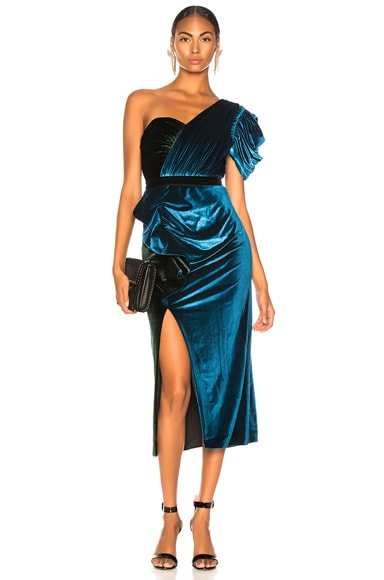 One Shoulder Velvet Midi Dress