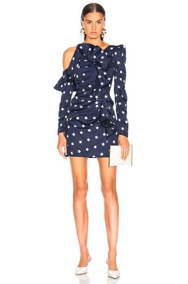 Star Printed Off Shoulder Dress