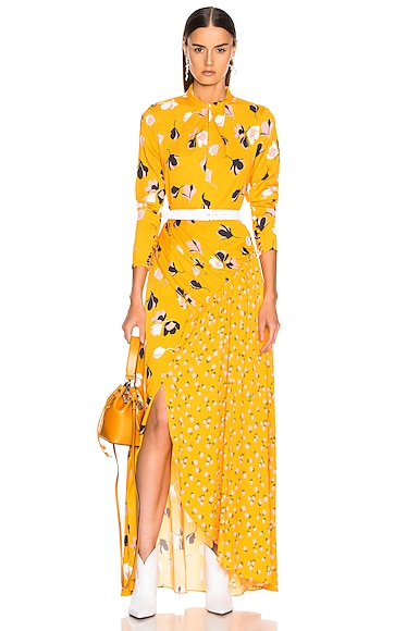 Floral Twist Neck Maxi Dress