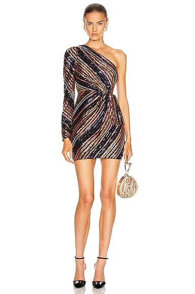 Stripe Sequin Mini Dress