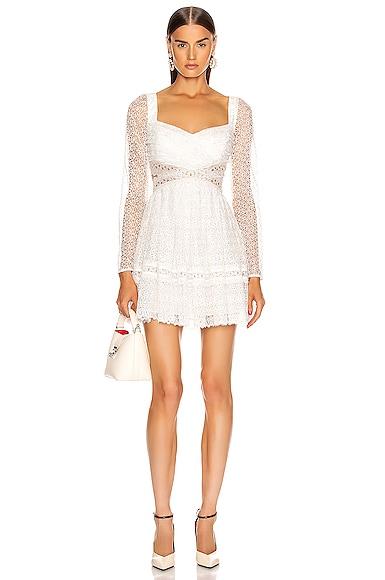 self-portrait Lace Cut Out Mini Dress in White | FWRD