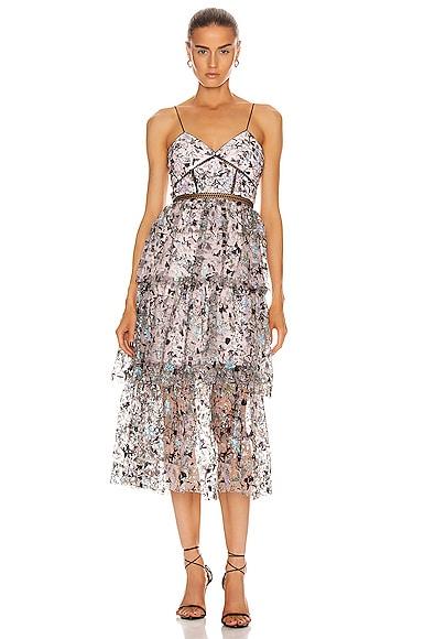 Constellation Tiered Midi Dress