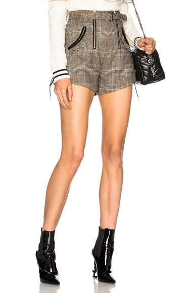 Checked Double Zip Shorts