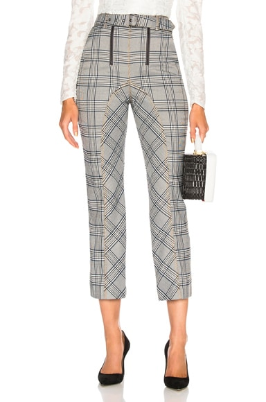Check Zip Front Trouser Pant