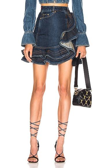 x Lee Flounced Denim Mini Skirt