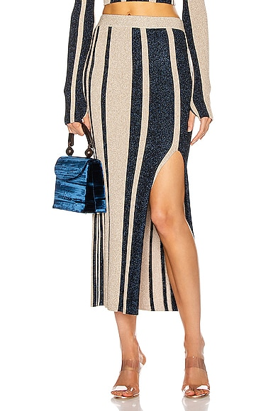 Stripe Knit Midi Skirt