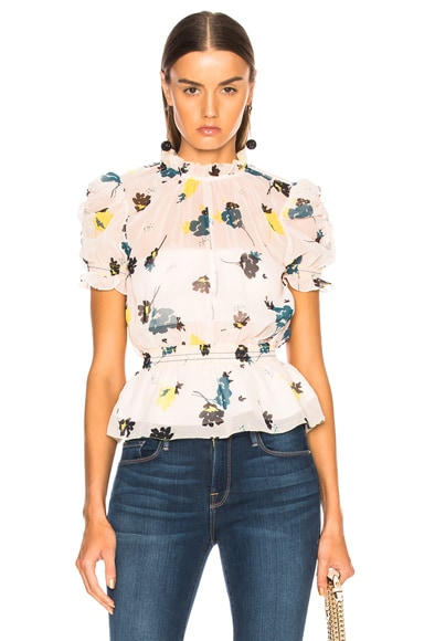 Graphic Floral Print Top
