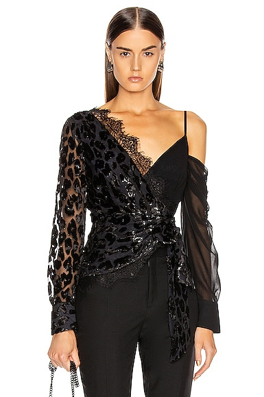 Metallic Leopard Wrap Top