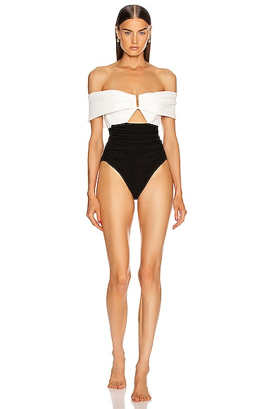 Monochrome Ruched Off Shoulder Swimsuit