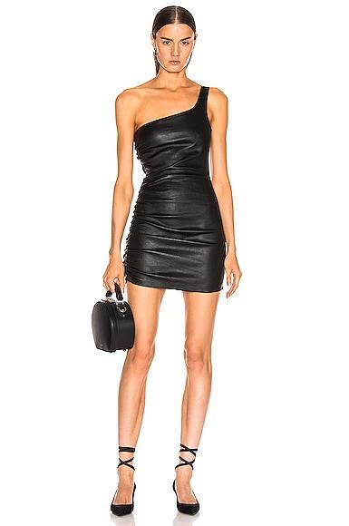 Shirred One Shoulder Dress