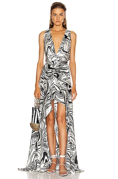 Silvia Tcherassi Dresses SILVIA TCHERASSI EGLE DRESS IN BLACK & WHITE MARBLE