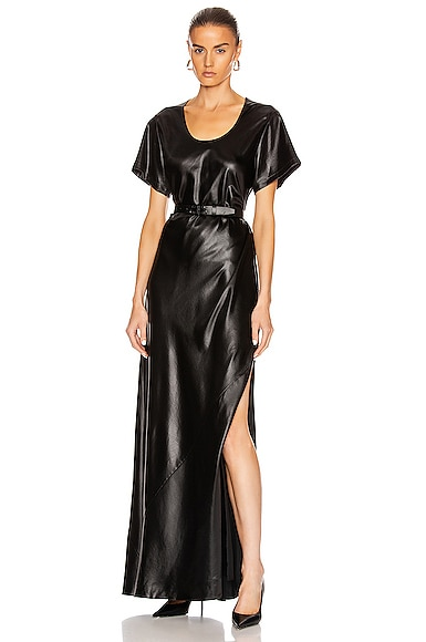 T by Alexander Wang Wet Shine Wash & Go Maxi Dress in Black | FWRD