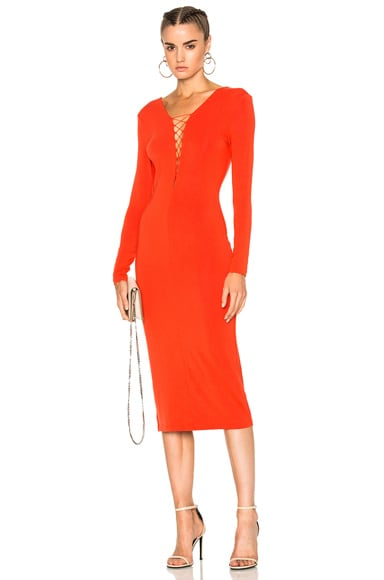 Micro Modal Spandex Lace Up Long Sleeve Dress
