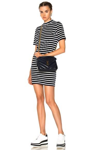 Velvet Short Sleeve Mock Neck Dress