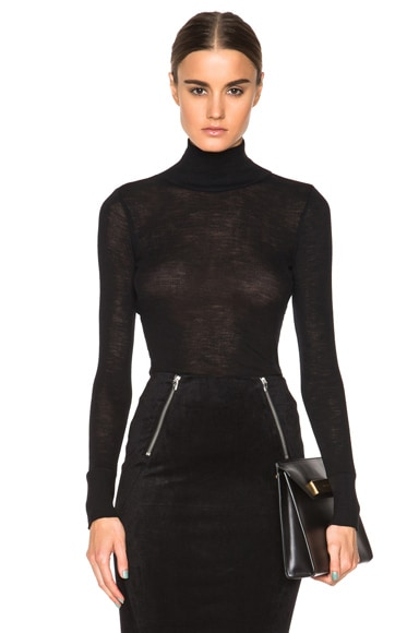 Sheer Wooly Rib Fitted Turtleneck