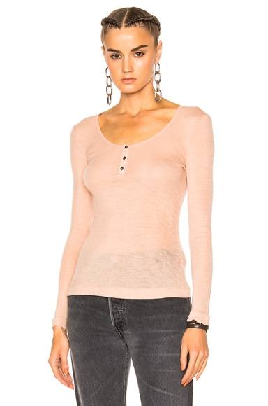 Sheer Rib Henley Sweater