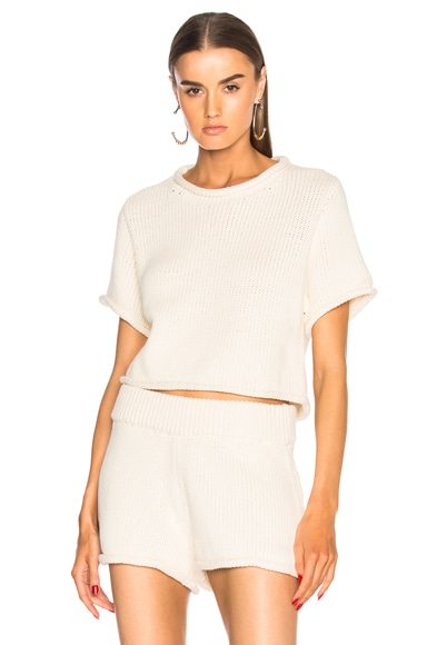 Cropped Short Sleeve Sweater