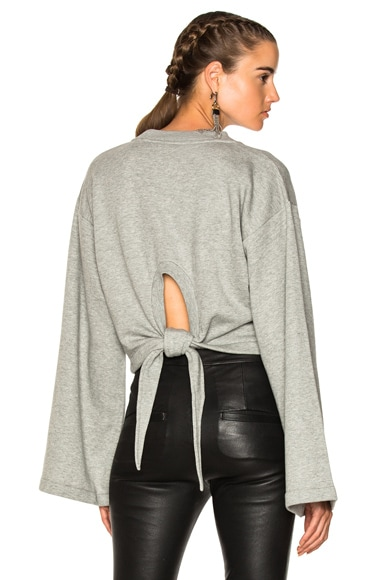 Tie Back Long Sleeve Crop Sweatshirt
