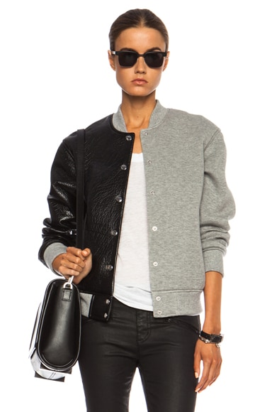 Leather & Neoprene Half Half Varsity Jacket