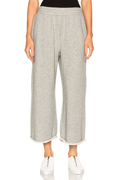 French Terry Cropped Wide Leg Sweatpants