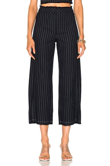 Cotton Burlap High Waisted Cropped Pant